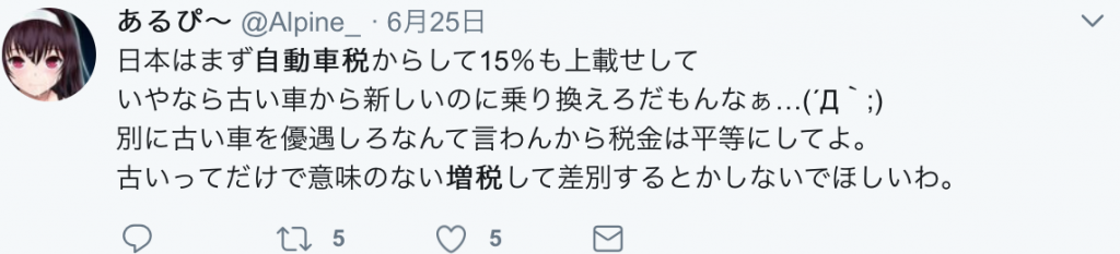 twitter自動車税13年超意見